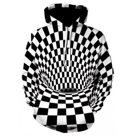 Pull à carreaux noir et blanc