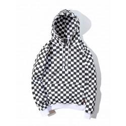 sweatshirt damier noir et blanc