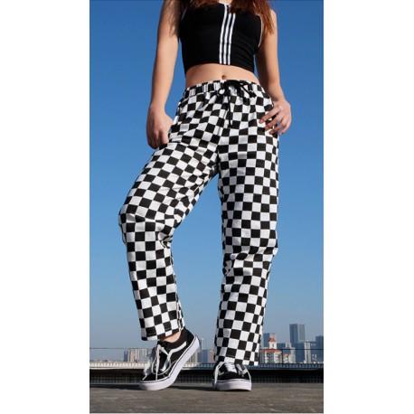 Pantalon damier noir et blanc